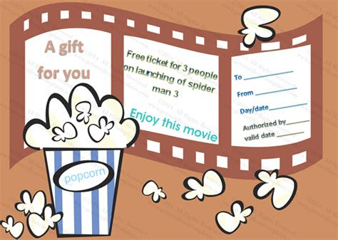 printable theatre vouchers movie tickets gift certificate template