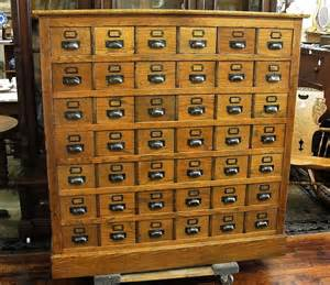 oak library card file with 48 drawers for the home