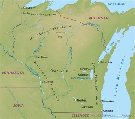 physical map of wisconsin wisconsin liberapedia