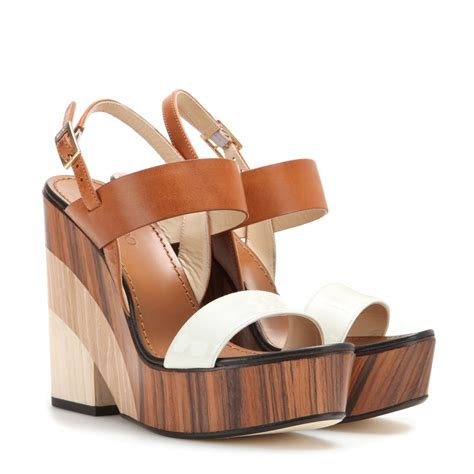 Wedges Shoes Cortina 1 lyst jimmy choo notion wood wedges in brown