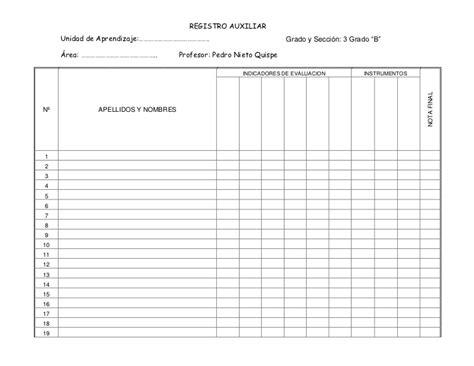 minedu registro auxiliar registro auxiliar en blanco slideshare ejemplo registros