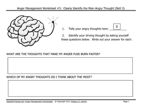 Anger Management Worksheets by Free Link For Third In Series Of Anger Management