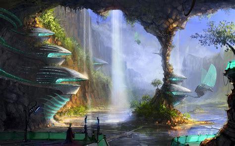 desktop wallpaper hd village futuristic jungle village walldevil