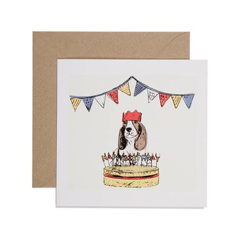 Birthday Cards With Dogs Hand Printed Dog And Birthday Cake Birthday Card Karenza