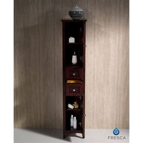 fresca oxford bathroom linen cabinet in mahogany