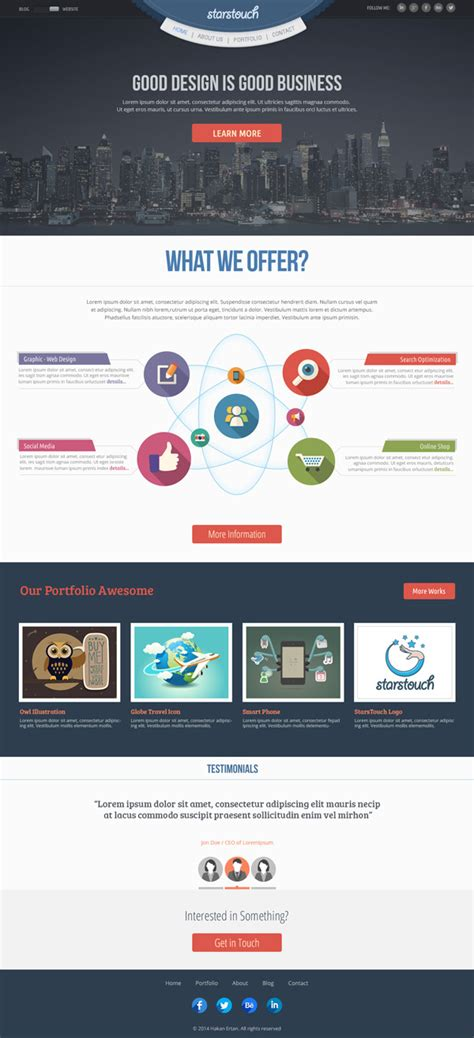 free homepage for website design psd templates 20 one page free web templates freebies