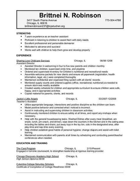 child care sle resume resume for child care background success