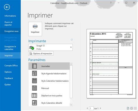 Calendrier Outlook Outlook 2016 Imprimer Un Calendrier M 233 Diaforma