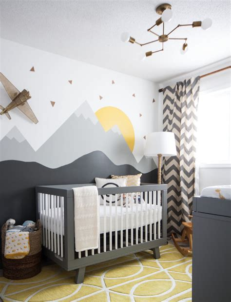 Chevron Nursery Curtains Babyletto Hudson Nursery Transitional With Chevron Curtains Modern Crib Mountain Mural Nursery