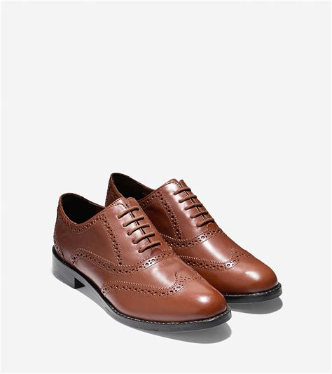 cole haan oxford shoes cole haan skylar leather oxford shoes in brown lyst
