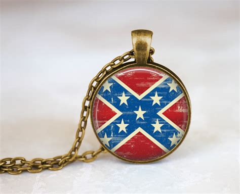 confederate flag necklace south civil war flag by empirejune