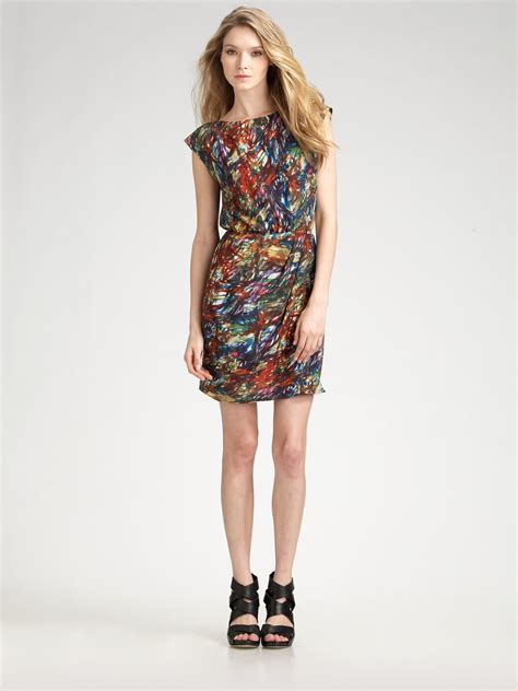 Dres Aren theory arena brushstrokeprint silk dress lyst