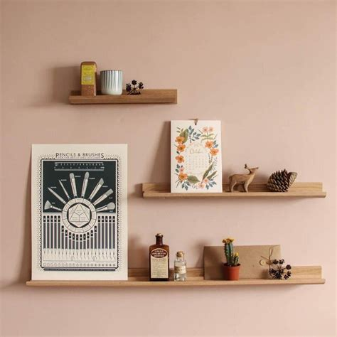 Picture Ledge Shelf by Creamore Mill Made In Solid Oak Floating Picture Ledge Shelf S M L Ebay