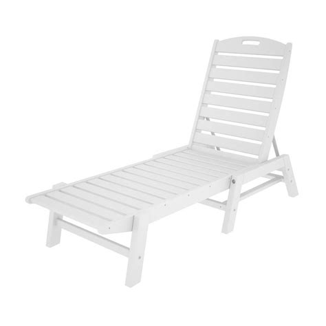 White Plastic Patio Chairs Shop Polywood Nautical White Plastic Stackable Patio Chaise Lounge Chair At Lowes
