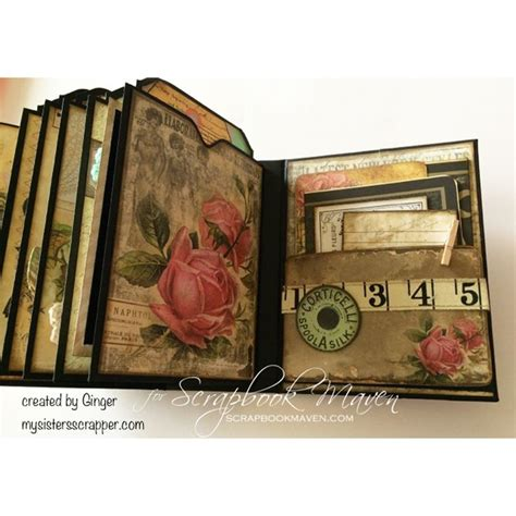 scrapbook maven tutorial inside ginger s mini album using the garment district kit