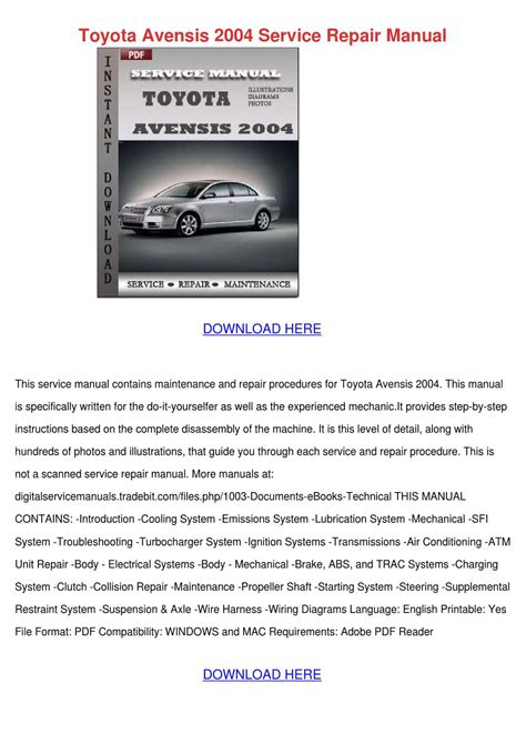 13 best images about toyota service repair manuals on ignition system entertainment toyota avensis 2004 service repair manual by alexandriawilber issuu
