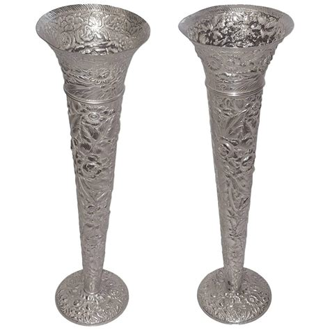 Metal Vases For Sale by Pair Of Silver Plated Flora Vases For Sale At 1stdibs