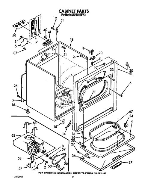 whirlpool dryer parts diagram diagram parts list for model le7800xsw3 whirlpool parts