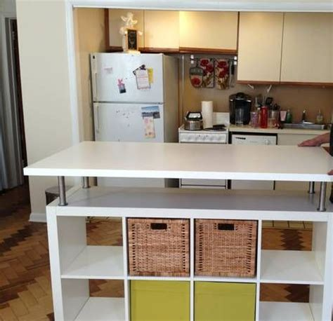 ikea hackers kitchen island home storage pinterest ikea hack an expedit bookcase was used to create this