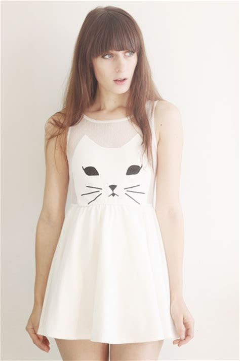 dress white cat 18807 white cat romwe dresses quot kittycat quot by theworldlooksred
