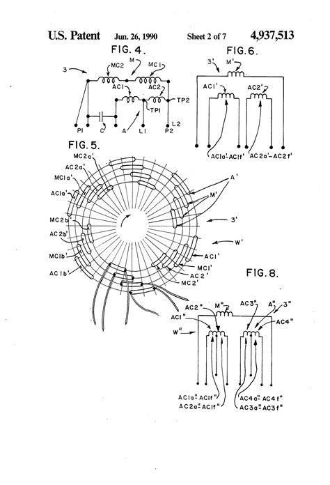 ceiling fan motor winding diagram patent us4937513 tapped auxiliary winding for multi