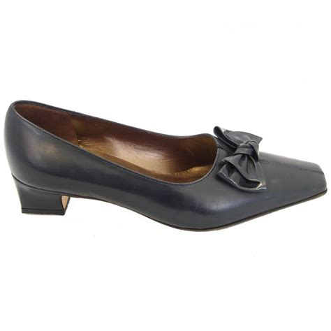 kaiser safire classic low heel court shoes in navy