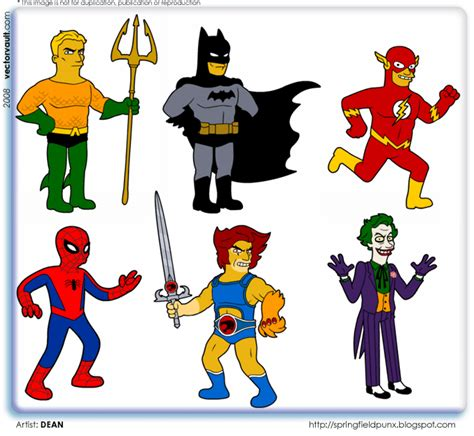 comic book characters pictures comic book heroes as simpsons characters vectorvault