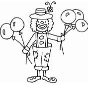 Clown Black And White Clipart