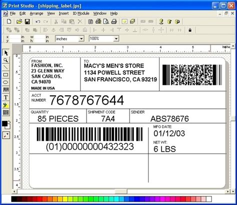 printing label templates print studio label maker