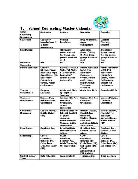 school counselor calendar scope of work template school counseling