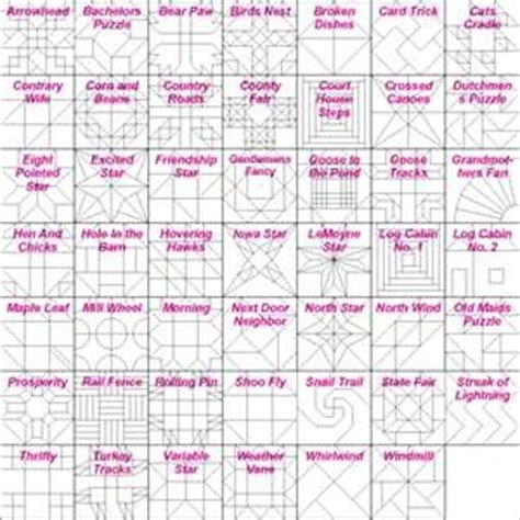 Quilt Pattern Names List by Block Names Quilts I