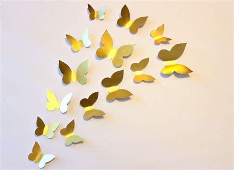 Wallsticker 3d Gold gold wall decor butterfly wall decal gold wall decal paper
