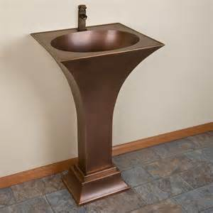 Copper Pedestal Sink flared smooth copper pedestal sink bathroom
