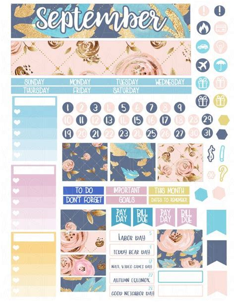 printable planner monthly view printable planner stickers september monthly view glam
