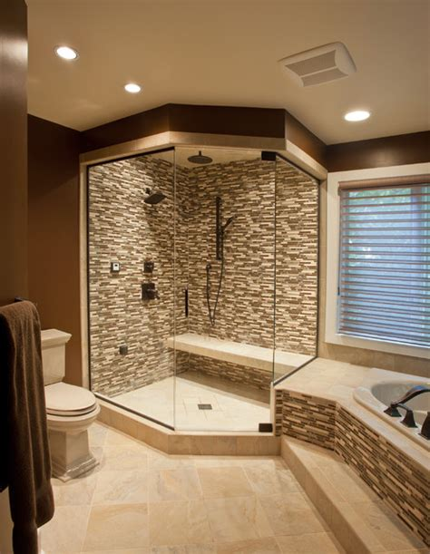 Tile Master Bathroom Ideas Ceramic Glass Tile Shower Contemporary Bathroom