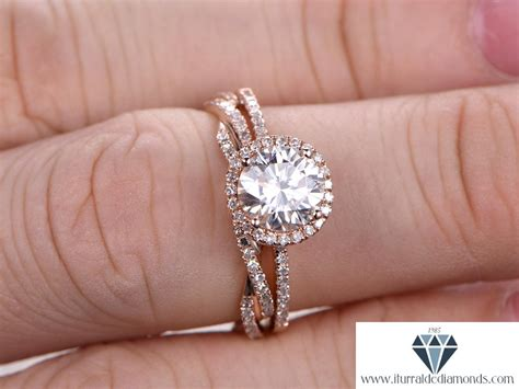 7mm cut moissanite engagement ring set vine style