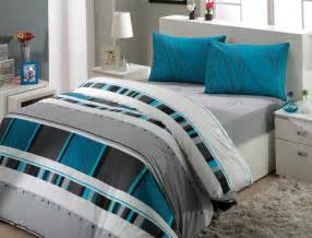 Teal Double Duvet Set Luxury Bedding Set With Fitted Sheet King Size 100