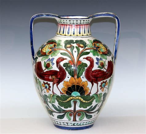 Majolica Vases Antiques by Piediluco Large Antique Italian Pottery Faience Majolica Jug Peacock Vase At 1stdibs