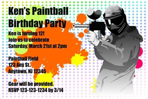 printable birthday invitations paintball paintball invitation personalized party invites