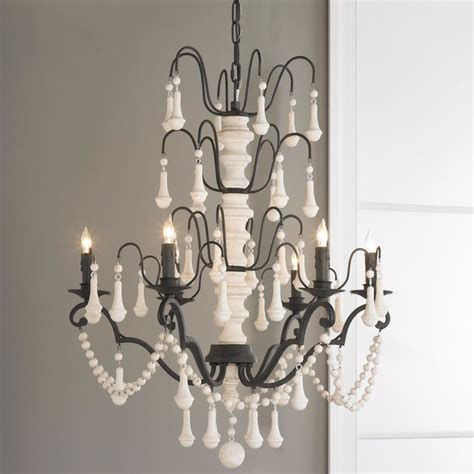 Iron And Chandelier White Wood Spindle And Iron Chandelier Chandeliers By