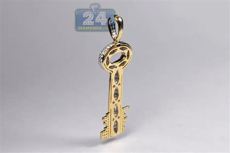 mens two side key pendant 10k yellow gold 2 85 ct