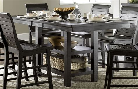 distressed black dining table willow distressed black rectangular counter height dining table p812 12b 12t progressive