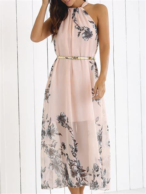Dress Bohemian shallow pink m blossom print high neck chiffon boho summer dress rosegal