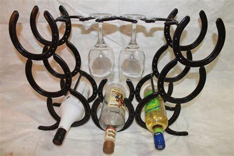 how to make a horseshoe wine rack horseshoe wine rack holds 7 bottles and four glasses