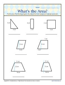 What s the area 6th grade geometry worksheets