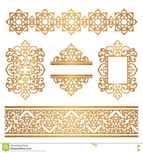 border decorative vintage elements vintage gold borders and frames on white stock vector