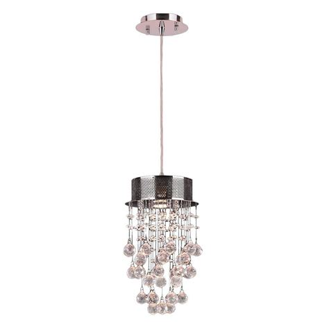 Pendant Light With Crystals Worldwide Lighting Icicle 1 Light Polished Chrome And