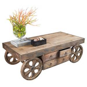 rustic wheels for coffee table wood table legno design