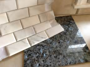 marble subway tile white blue pearl granite countertop