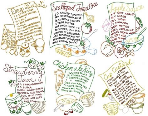 free kitchen embroidery designs tea towel recipes i machine embroidery pinterest